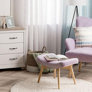 Sessel Samtstoff rosa plus Hocker VEJLE