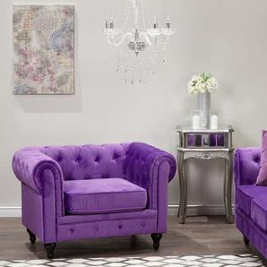 Sessel Samtstoff violett CHESTERFIELD