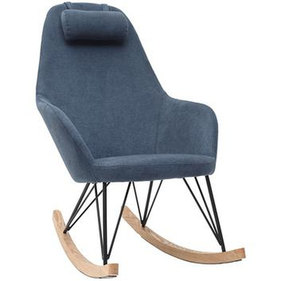 Sessel Schaukelstuhl Samteffekt Blau Füße Metall und Holz JHENE
