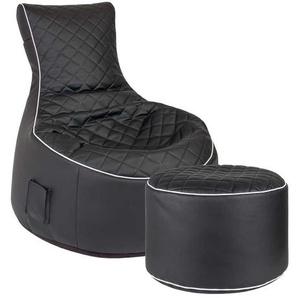 Sessel Sitzsack in Schwarz Kunstleder Hocker