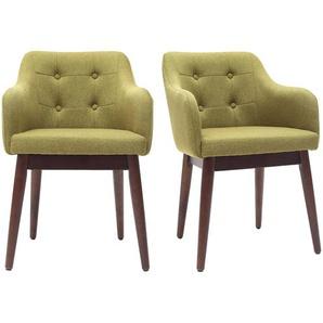 Sessel skandinavisch Stoff Grün und Füße aus Holz 2er-Set BALTIK