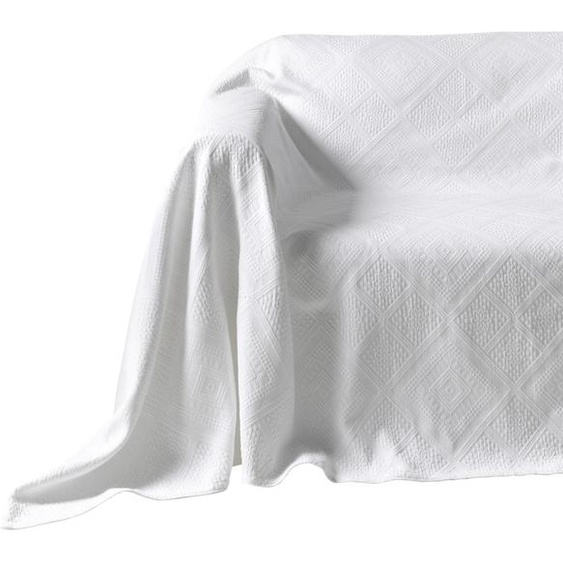 Sesselüberwurf mit Hoch-/Tief-Struktur 1, ca. 160/190 cm weiß Sesselhussen Hussen Überwürfe