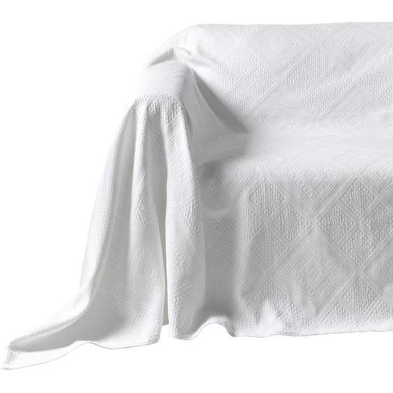 Sesselüberwurf mit Hoch-/Tief-Struktur 2, ca. 250/190 cm weiß Sesselhussen Hussen Überwürfe