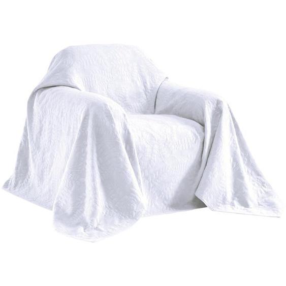 Sesselüberwurf mit schönem Blätterdessin 1, ca. 160/190 cm weiß Sofaüberwürfe Hussen Überwürfe