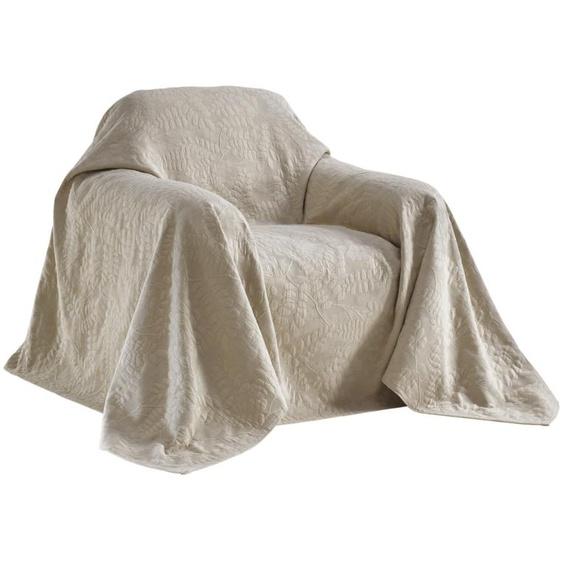Sesselüberwurf mit schönem Blätterdessin 2, ca. 250/190 cm grau Sofaüberwürfe Hussen Überwürfe