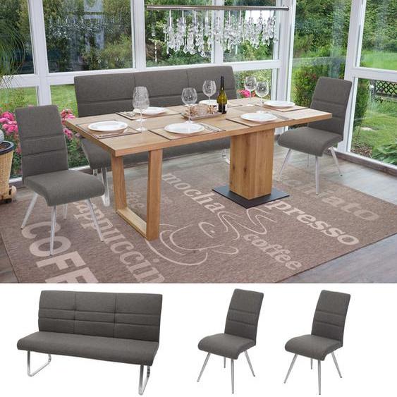 Set 2x Esszimmerstuhl+Sitzbank HWC-G55, Bank K�chenstuhl Stuhl, Stoff/Textil Edelstahl ~ grau Bank 160cm