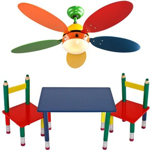 Set aus bunten Kinder Möbeln mit Deckenventilator - ETC-SHOP