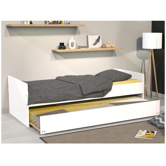 Set Ausziehbett NOLAN + 2 Matratzen - 2x90x190cm - Weiß