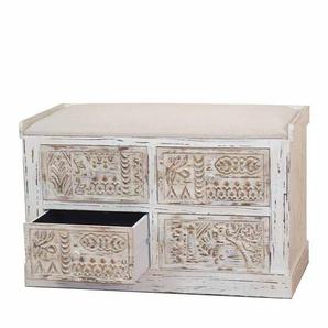 Shabby Chic Sitzbank mit Schubladen Weiß