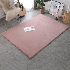 Shaggy-Teppich Conway aus Schaffell in Rosa
