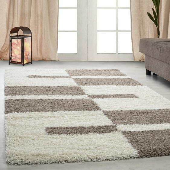 Shaggy-Teppich Leamon in Creme/Taupe