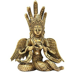 ShalinIndia Hindi Gottheit Göttin Nagkanya Messing Idols Figuirne Puja Home Decor Größe: 14,5 x 8,9 x 5,1 cm