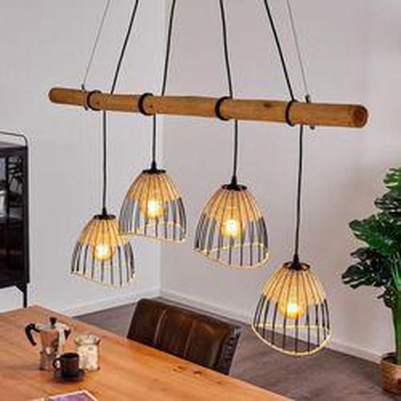 Shalo Pendelleuchte Schwarz, Holz dunkel, 4-flammig - Vintage/Boho Style - Innenbereich - versandfertig innerhalb von 2-4 Werktagen