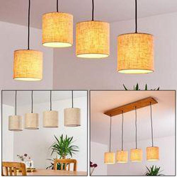 Shiburg Pendelleuchte Holz hell, 4-flammig - Vintage/Boho Style - Innenbereich - versandfertig innerhalb von 2-4 Werktagen