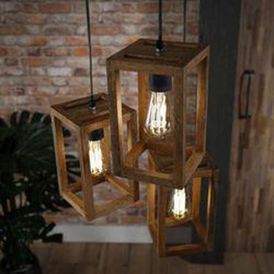 Siddeburen Pendelleuchte Holz dunkel, 3-flammig - Vintage/Industrial/Boho Style - Innenbereich - versandfertig innerhalb von 2-3 Wochen
