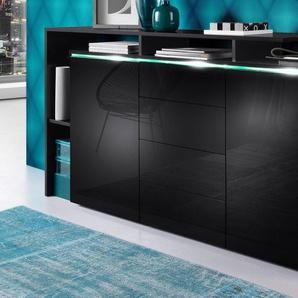 Sideboard, schwarz, Hochglanz, mit Schubkästen, borchardt Möbel