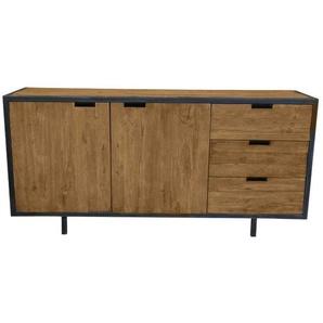 Sideboard aus Teak Massivholz und Metall 85 cm hoch