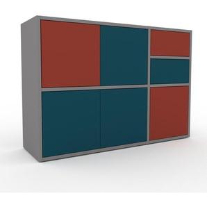 Sideboard Grau - Sideboard: Schubladen in Blau & Türen in Blau - Hochwertige Materialien - 116 x 80 x 35 cm, konfigurierbar