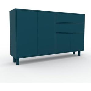 Sideboard Blau - Sideboard: Schubladen in Blau & Türen in Blau - Hochwertige Materialien - 152 x 91 x 35 cm, konfigurierbar