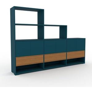 Sideboard Blau - Sideboard: Schubladen in Eiche & Türen in Blau - Hochwertige Materialien - 226 x 158 x 35 cm, konfigurierbar