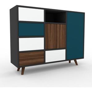 Sideboard Anthrazit - Sideboard: Schubladen in Weiß & Türen in Nussbaum - Hochwertige Materialien - 118 x 91 x 35 cm, konfigurierbar