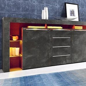 Sideboard, grau, Breite 192cm, mit Schubkästen, Places of Style