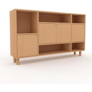 Sideboard Buche - Designer-Sideboard: Türen in Buche - Hochwertige Materialien - 154 x 91 x 35 cm, Individuell konfigurierbar