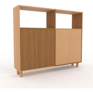 Sideboard Eiche - Designer-Sideboard: Türen in Eiche - Hochwertige Materialien - 152 x 130 x 35 cm, Individuell konfigurierbar