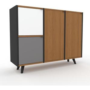 Sideboard Anthrazit - Designer-Sideboard: Türen in Eiche - Hochwertige Materialien - 118 x 91 x 35 cm, Individuell konfigurierbar