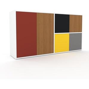 Sideboard Weiß - Designer-Sideboard: Türen in Eiche - Hochwertige Materialien - 152 x 80 x 35 cm, Individuell konfigurierbar