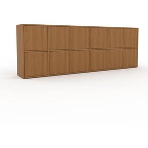 Sideboard Eiche - Designer-Sideboard: Türen in Eiche - Hochwertige Materialien - 233 x 80 x 35 cm, Individuell konfigurierbar