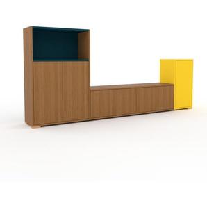 Sideboard Eiche - Designer-Sideboard: Türen in Eiche - Hochwertige Materialien - 265 x 120 x 35 cm, Individuell konfigurierbar