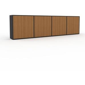 Sideboard Anthrazit - Designer-Sideboard: Türen in Eiche - Hochwertige Materialien - 301 x 80 x 35 cm, Individuell konfigurierbar
