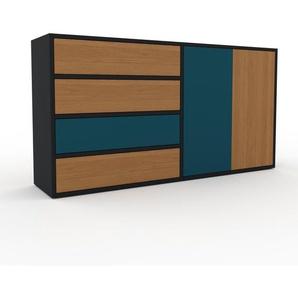 Sideboard Schwarz - Sideboard: Schubladen in Eiche & Türen in Blau - Hochwertige Materialien - 152 x 80 x 35 cm, konfigurierbar