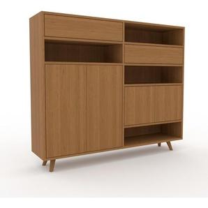 Sideboard Eiche - Sideboard: Schubladen in Eiche & Türen in Eiche - Hochwertige Materialien - 152 x 130 x 35 cm, konfigurierbar