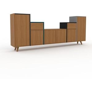 Sideboard Eiche - Sideboard: Schubladen in Eiche & Türen in Eiche - Hochwertige Materialien - 233 x 91 x 35 cm, konfigurierbar