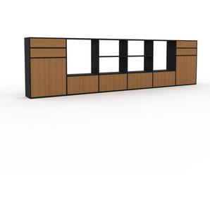 Sideboard Schwarz - Sideboard: Schubladen in Eiche & Türen in Eiche - Hochwertige Materialien - 450 x 118 x 35 cm, konfigurierbar
