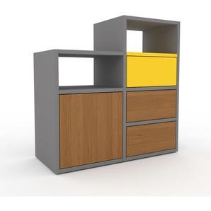 Sideboard Grau - Sideboard: Schubladen in Eiche & Türen in Eiche - Hochwertige Materialien - 79 x 80 x 35 cm, konfigurierbar