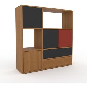 Sideboard Eiche - Sideboard: Schubladen in Eiche & Türen in Anthrazit - Hochwertige Materialien - 116 x 118 x 35 cm, konfigurierbar