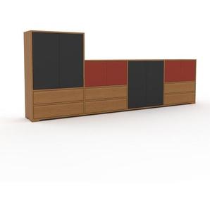 Sideboard Eiche - Sideboard: Schubladen in Eiche & Türen in Anthrazit - Hochwertige Materialien - 301 x 120 x 35 cm, konfigurierbar