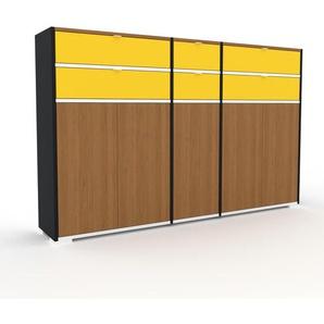 Sideboard Schwarz - Sideboard: Schubladen in Gelb & Türen in Eiche - Hochwertige Materialien - 190 x 120 x 35 cm, konfigurierbar