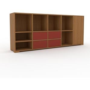 Sideboard Eiche - Sideboard: Schubladen in Rot & Türen in Eiche - Hochwertige Materialien - 195 x 81 x 35 cm, konfigurierbar