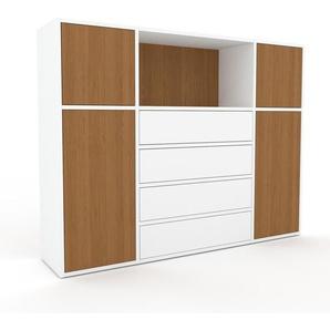 Sideboard Weiß - Sideboard: Schubladen in Weiß & Türen in Eiche - Hochwertige Materialien - 154 x 118 x 35 cm, konfigurierbar