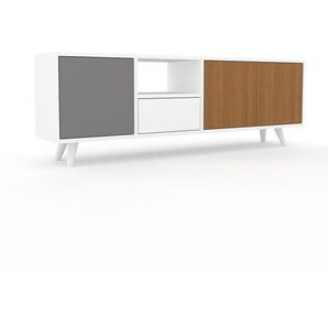 Sideboard Weiß - Sideboard: Schubladen in Weiß & Türen in Eiche - Hochwertige Materialien - 154 x 53 x 35 cm, konfigurierbar