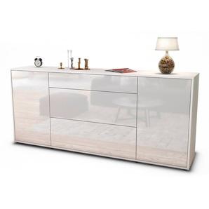 Sideboard Eleonora | Korpus Weiß | Front in Hochglanz Weiß | 180x79x35cm (BxHxT)
