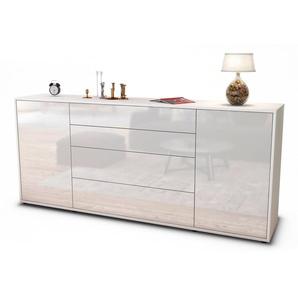 Sideboard Elettra | Korpus Weiß | Front in Hochglanz Weiß | 180x79x35cm (BxHxT)