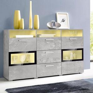 Sideboard, Breite 136,5 cm, grau, pflegeleichte Oberfläche, FSC®-zertifiziert, grau