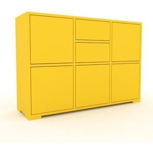 Sideboard Gelb - Sideboard: Schubladen in Gelb & Türen in Gelb - Hochwertige Materialien - 118 x 81 x 35 cm, konfigurierbar