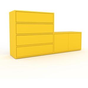 Sideboard Gelb - Sideboard: Schubladen in Gelb & Türen in Gelb - Hochwertige Materialien - 152 x 80 x 35 cm, konfigurierbar