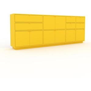 Sideboard Gelb - Sideboard: Schubladen in Gelb & Türen in Gelb - Hochwertige Materialien - 229 x 85 x 35 cm, konfigurierbar